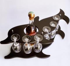 Винный набор дельфин (6 бокалов). Материал: МДФ,