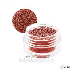 Red paillettes in a round container. SB-09