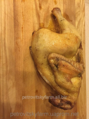 Carcasses of home-made chicken of grain fattening