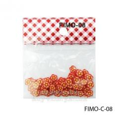 FIMO figures in the form of red-orange florets.