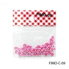 FIMO figures in the form of bright pink florets.
