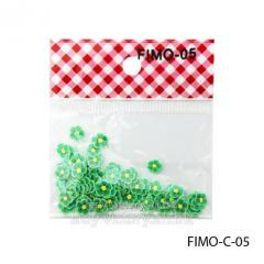 FIMO figures in the form of bright green florets.