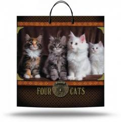 Plastic bag with the handle (40X40 cm) Four cats