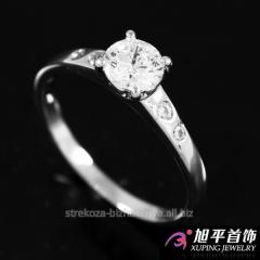 Кольцо родиум ''Камень (0,6см) в 4х держателях по