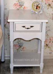 Bedside table white bedside of the massif of an