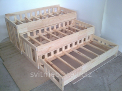 Bed the nursery 3-level of natural wood 81316