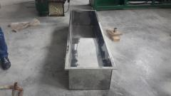 Bathtub from a stainless steel for the granulator