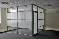 Office stationary partitions with a glass matting