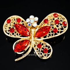 """Golden Butterfly brooch with large"