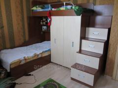 Bed nursery two-story beige-brown