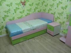 Bed nursery single green-pink