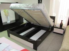 Beige-black double bed