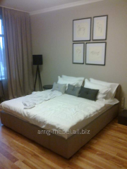 Gray double bed