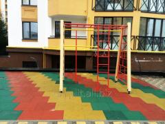 Travmobezpasny rubber tile for housing estates