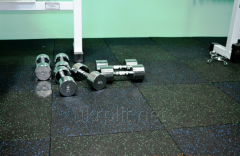 Modular floor coverings for a gym from a rubber crumb