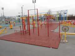 Rubber paving slabs for sports grounds