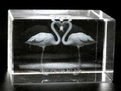 The laser hologram in crystal / Flamingo Heart /