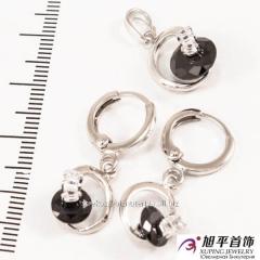Набор родиум (серьги кольца +кольцо) Круглый
