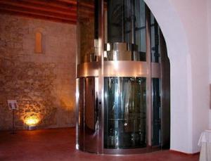 Elevators panoramic with transparent cabins