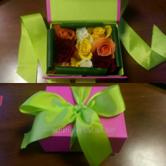 Gifts by March 8, flowers in a box with makaruna
