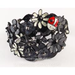 Браслет металлический черный ''Цветы серые, эмаль,
