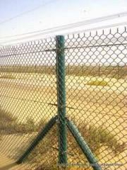 The metal fence strengthened from a wattled grid