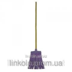 Метла пластмассовая плоская с деревянной ручкой