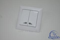 Выключатель двойной белый с подсветкой GUNSAN