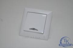 Выключатель одинарный белый с подсветкой GUNSAN