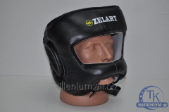 Шлем боксерский с бампером ZEL Кожа P-ZB-3732-BK