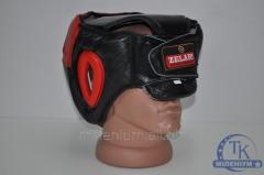 Шлем боксерский с защитой ZEL Кожа ZB-3731-R