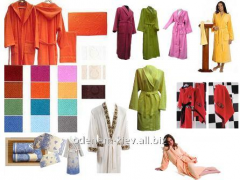 Towels for hotels, dressing gowns, furniture