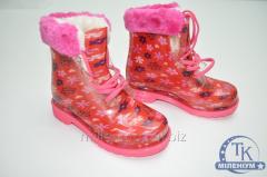 Ботинки для девочки силиконовые с меховой вставкой