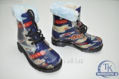 Ботинки для мальчика силиконовые с меховой