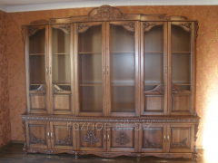 Wardrobe cupboard with a showcase of natural wood