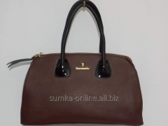 Bag from genuine leather chocolate