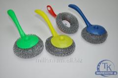 Металлическая мочалка с ручкой для чистки посуды