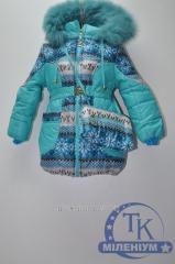 Пальто для девочки болоньевое зимнее с натуральной