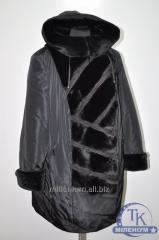 Пальто женское болоньевое зимнее с меховыми