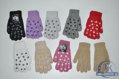 Перчатки женские шерстяные с добавлением ангоры