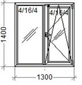 Окно кухонное 1.3*1.4