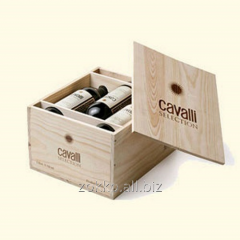 Box for 6 bottles of wine on the handles on the
