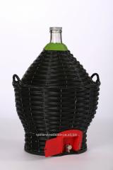 Бутыль-демиджон с краном для вина и пластиковой крышкой, Итальянское стекло объем - 34 литра