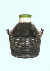 Бутыль-демиджон с широким горлышком и пластиковой крышкой Итальянское стекло. Объем - 15 литров