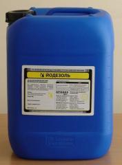 Йодезоль - йодсодержащее дезинфекционное средство для аэрозольной обработки животноводческих и птицеводческих помещений, объектов и оборудования,  а также для санации дыхательных путей животных и птицы.