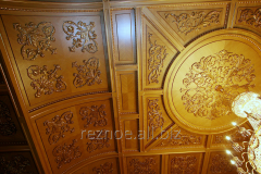 Decorative panels from a tree on walls and a