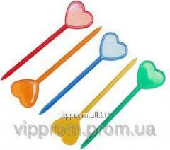 Skewers of heart for canapes colored 1000pcs./UE, 20up./box, code 729