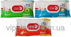 Children's wet towel wipes of Lily with the valve, the 72nd piece/unitary enterprise., 21 up./box, code 2129