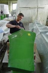 Fiberglass blades for driving wheels of industrial