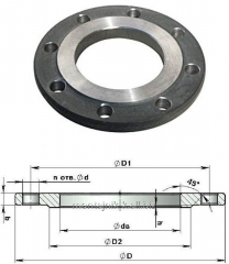Flanges steel and corrosion-proof flat welded GOST